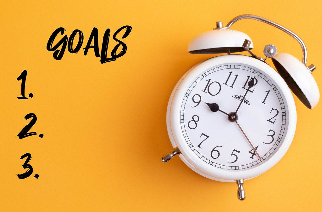 Alarm clock with handwritten goals list on yellow background