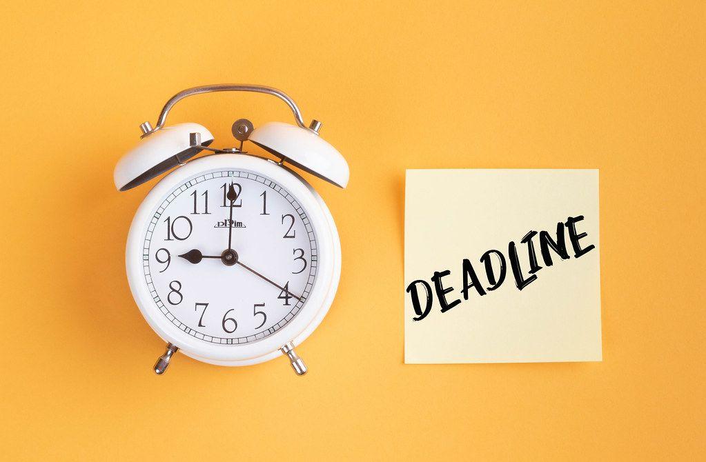 Alarm clock with handwritten text Deadline