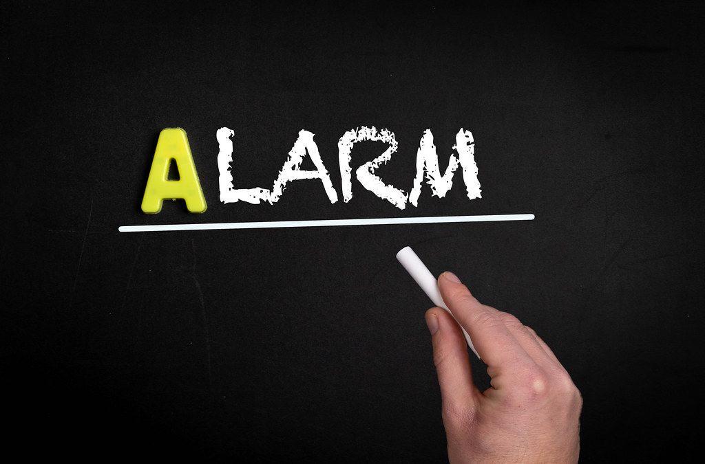 Alarm text on blackboard