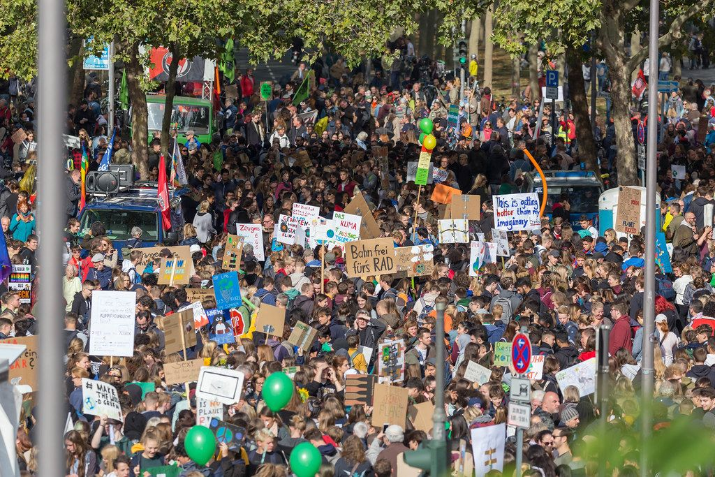 All generations at the Fridays for Future global climate strike in Cologne, Germany