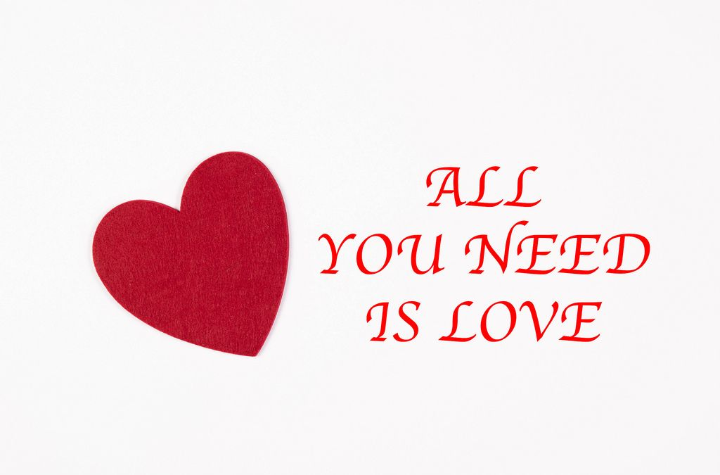 All you need is love text with red heart