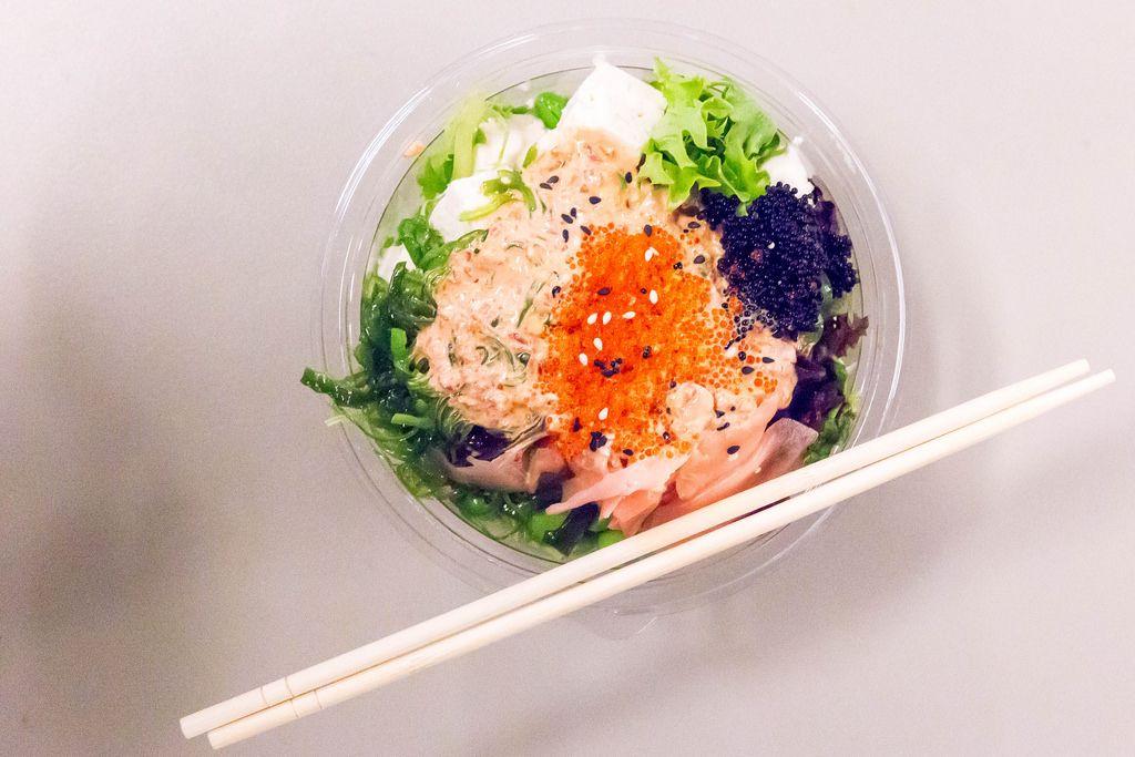 Aloha Poke salad and chopsticks