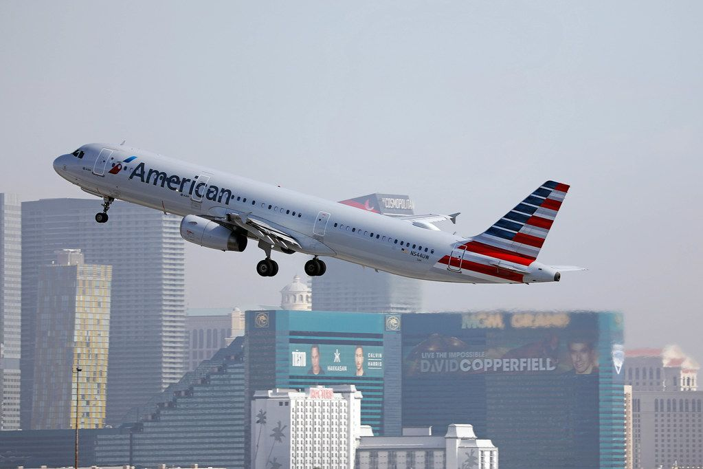 American Airlines airplane taking off from Las Vegas airport LAS