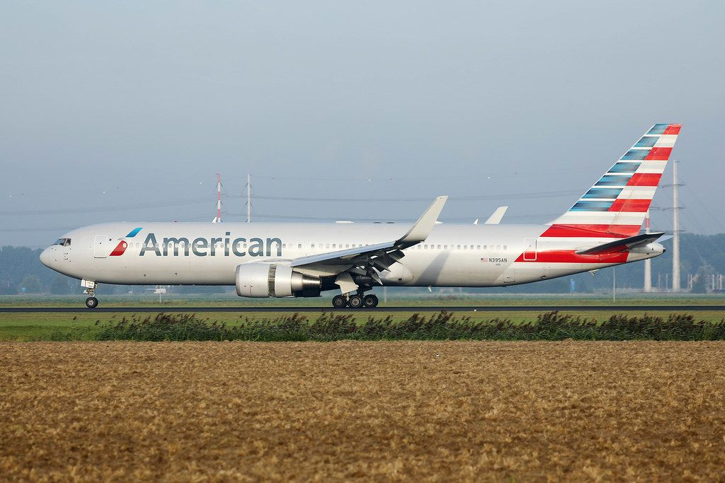American Airlines at AMsterdam Schiphol Airport