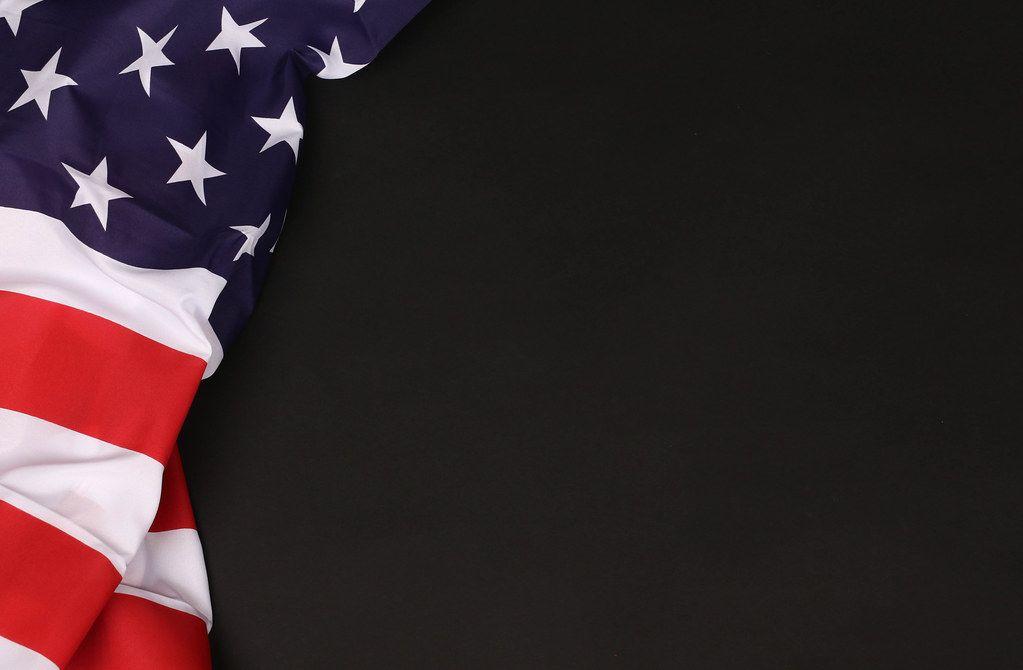 American flag against a blackboard background