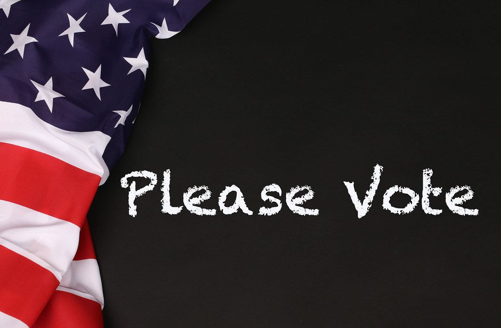 American flag with the text Please Vote against a blackboard background