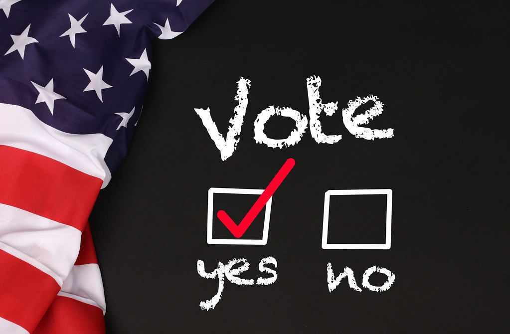 American flag with the Vote Yes concept