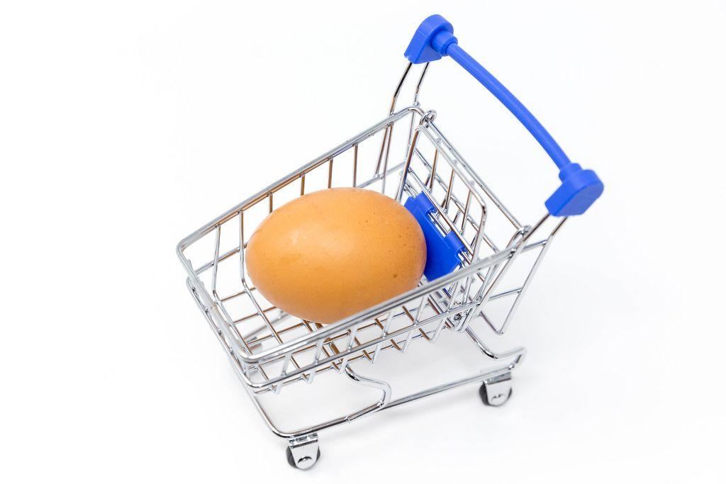 An egg in a miniature shopping cart