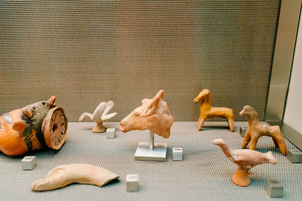 Ancient Greek figurines made of clay of different animals