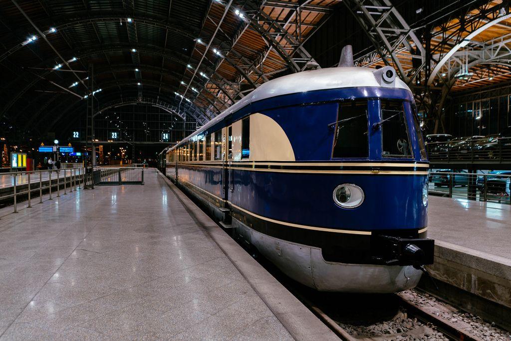 Antique German Reichsbahn blue passenger train