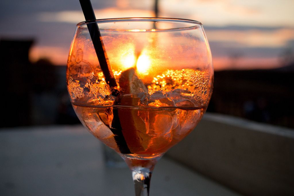Aperol spritz cocktail in sunset