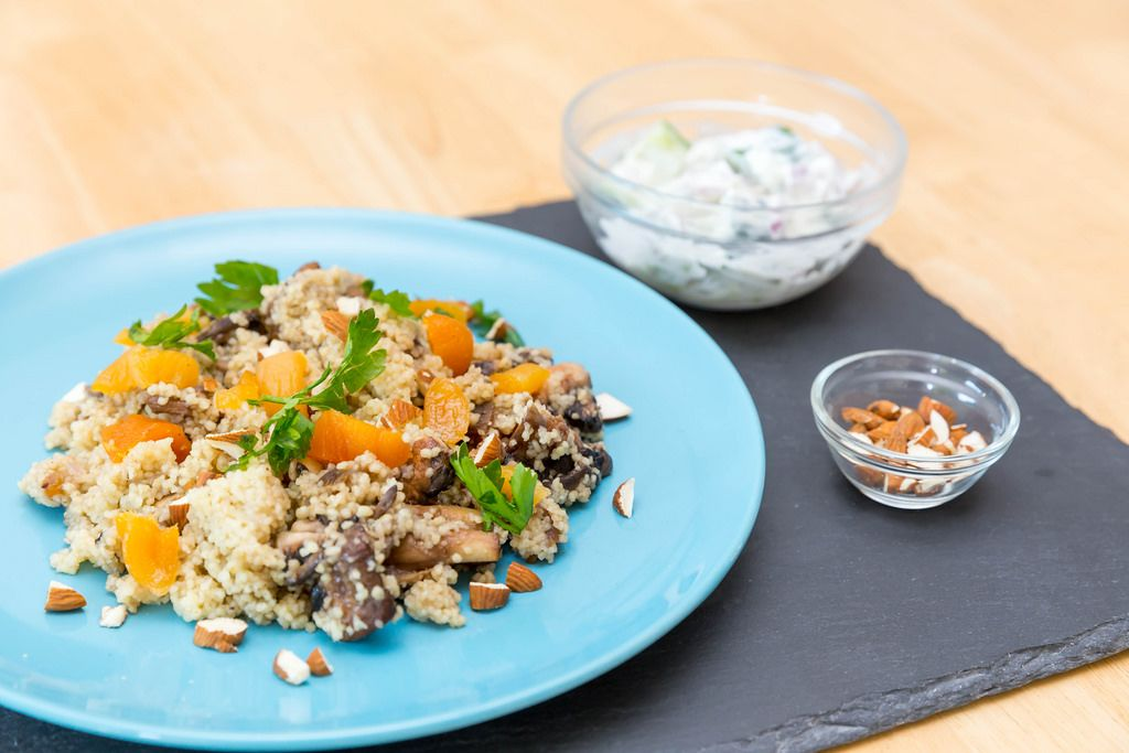 Apricot couscous with Ras-el-Hanout mushrooms, almonds and cucumber yogurt dip