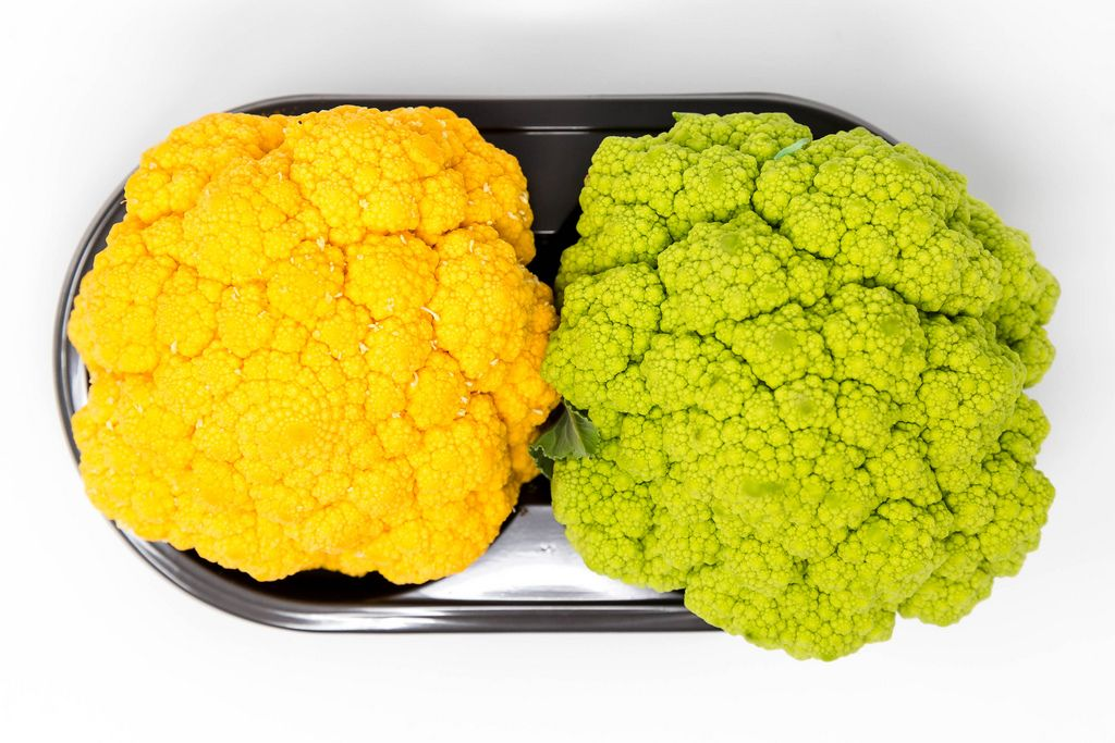 Arieal picture of green and yellow mini cauliflower from spain by Jimbo Fresh