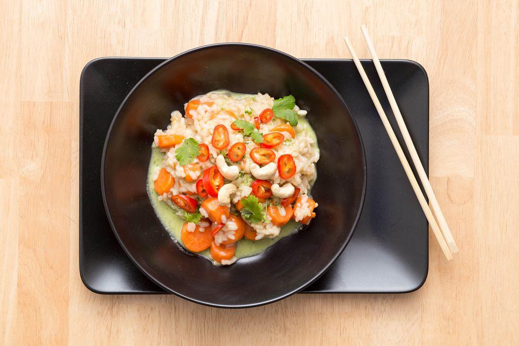 Asian Risotto with Veggies, Pesto, Cashews and Chilli