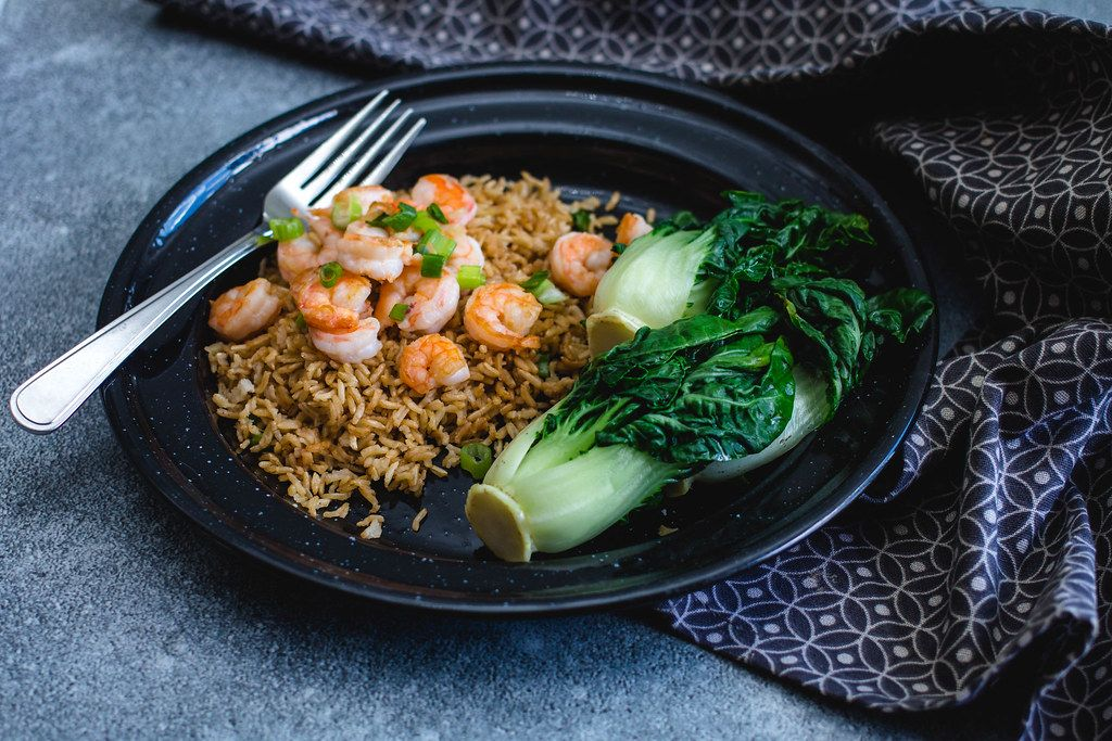 Asian Shrimps with rice and Bok choy  (Flip 2019)