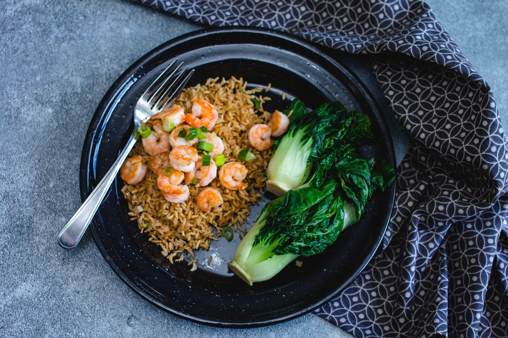 Asian Shrimps with rice and Bok choy top view  (Flip 2019)