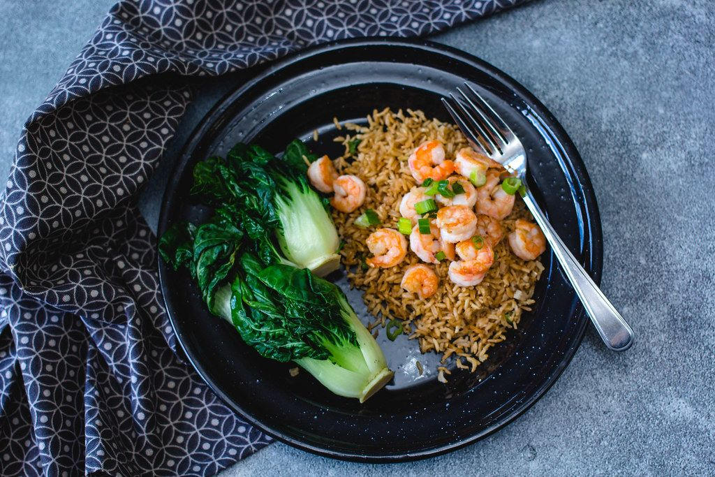 Asian Shrimps with rice and Bok choy top view
