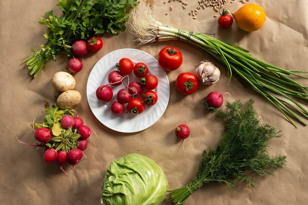 Assortment of healthy fresh vegetables background (Flip 2019)