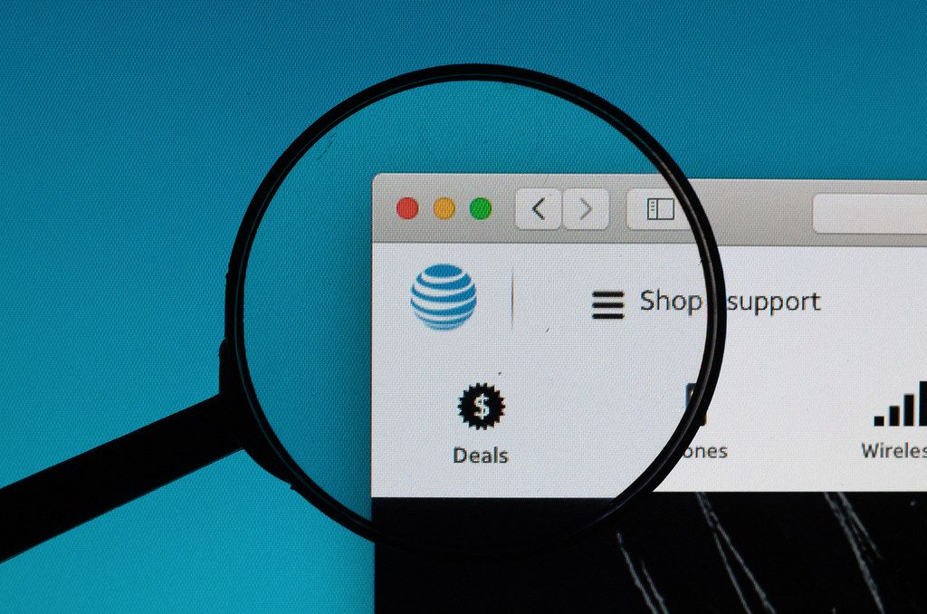 AT&T logo under magnifying glass