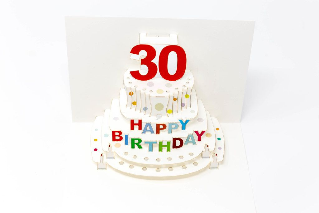 Aufklappbare Geburtstagskarte mit einer Papiertorte zum 30. Geburtstag