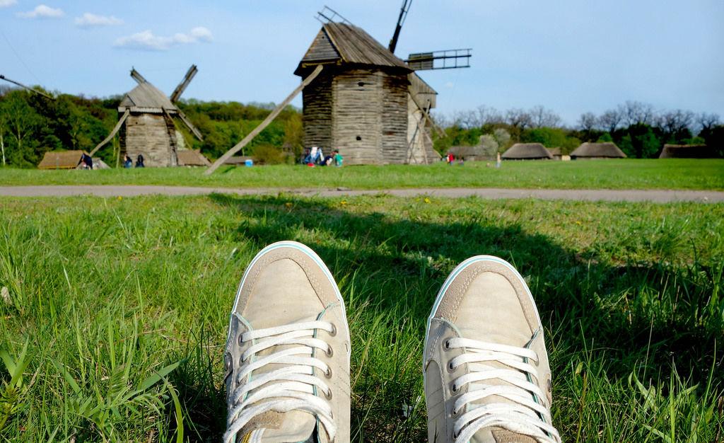 Aussicht auf Windmühlen