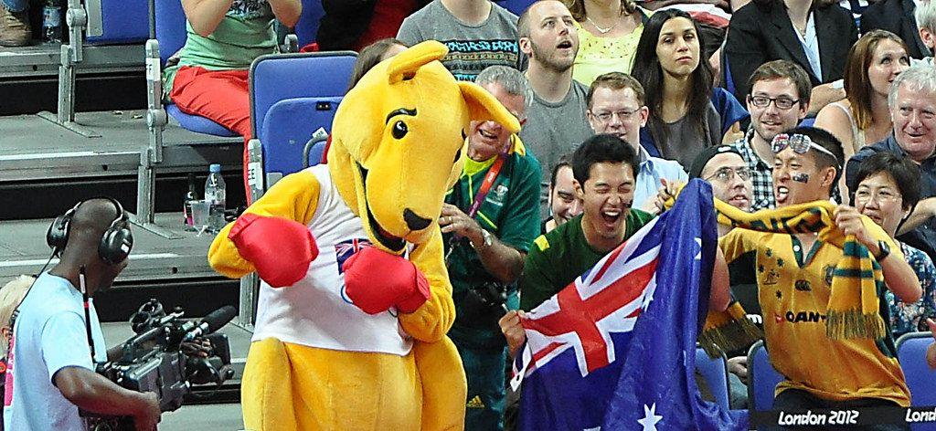 Australische Fans und Maskottchen bei den London Olympics 2012