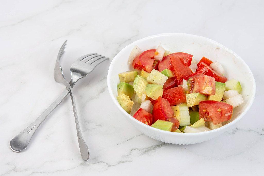 Avocado Tomato Onion and Cucumber Salad