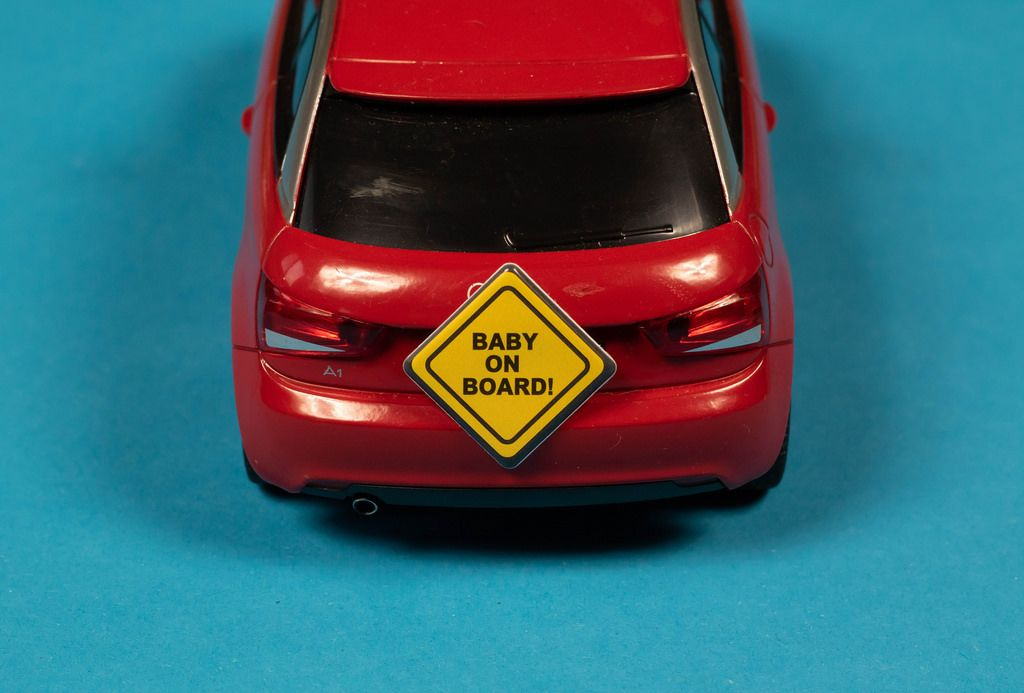 Baby on Board WArnschild an Audi A1 in rot