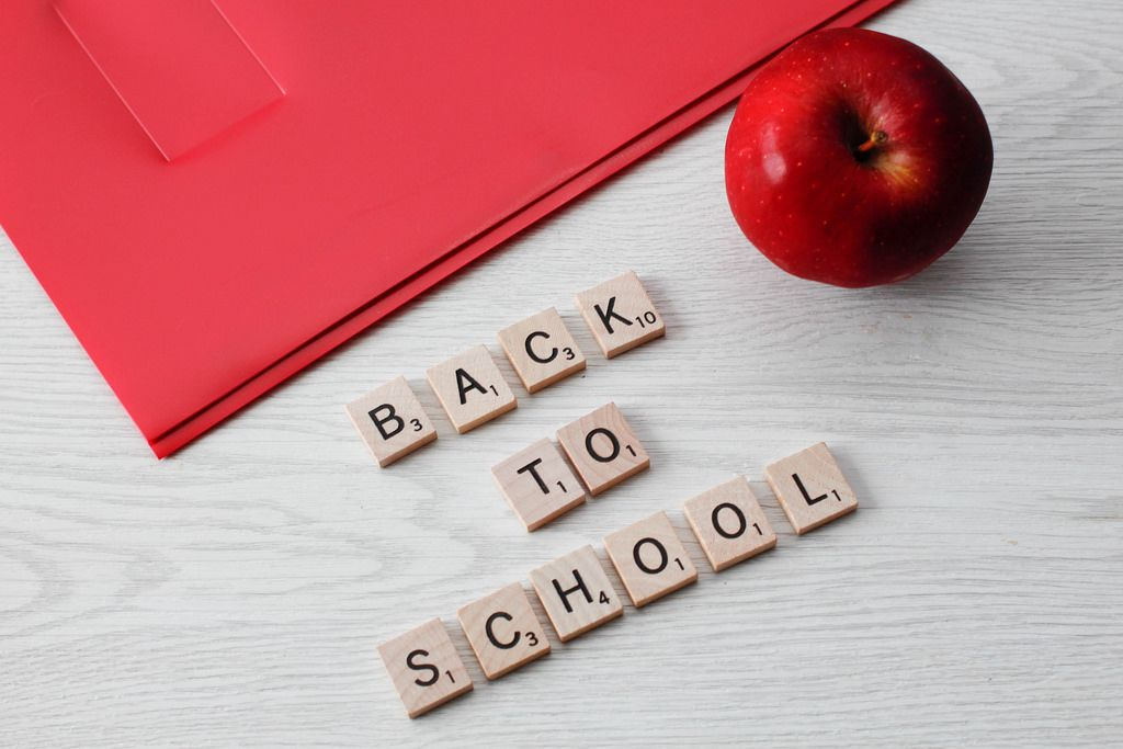 Back to School letters with a Book and a Apple