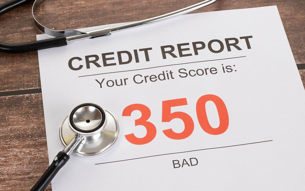 Bad credit score of 350 with stethoscope on wooden table