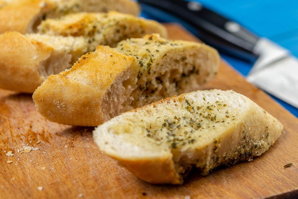 Baked Bread Bruschetta on the cutting board