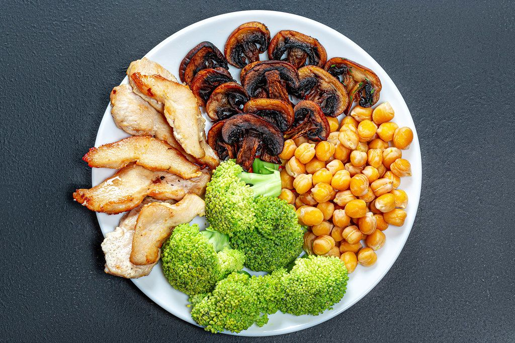 Baked chicken breast and mushrooms with chickpeas and fresh broccoli. Top view