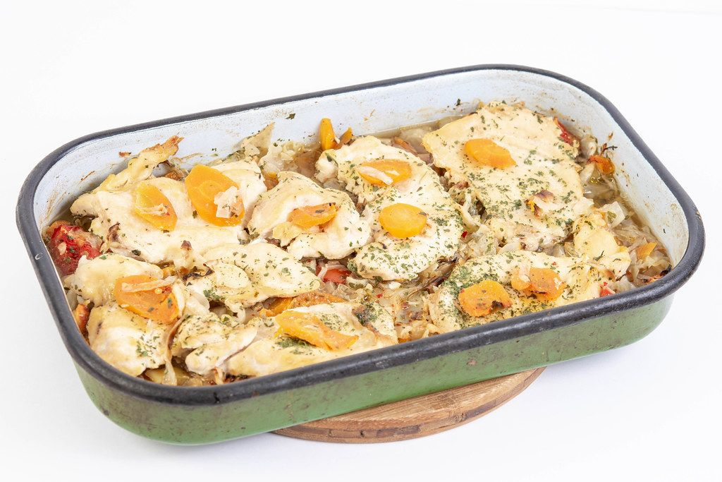 Baked Chicken Breasts with Carrots in the baking tray