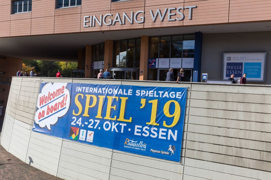 Banner at the entrance of the International games fair SPIEL 19 in Essen, Germany