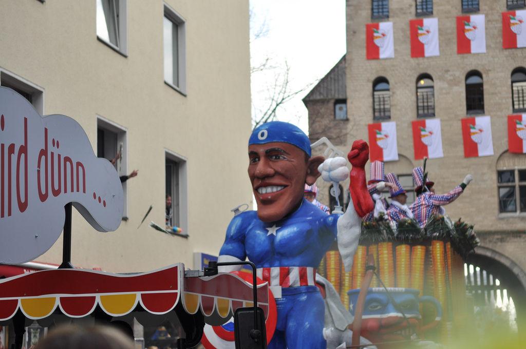 Barack Obama am Rosenmontagszug 2012