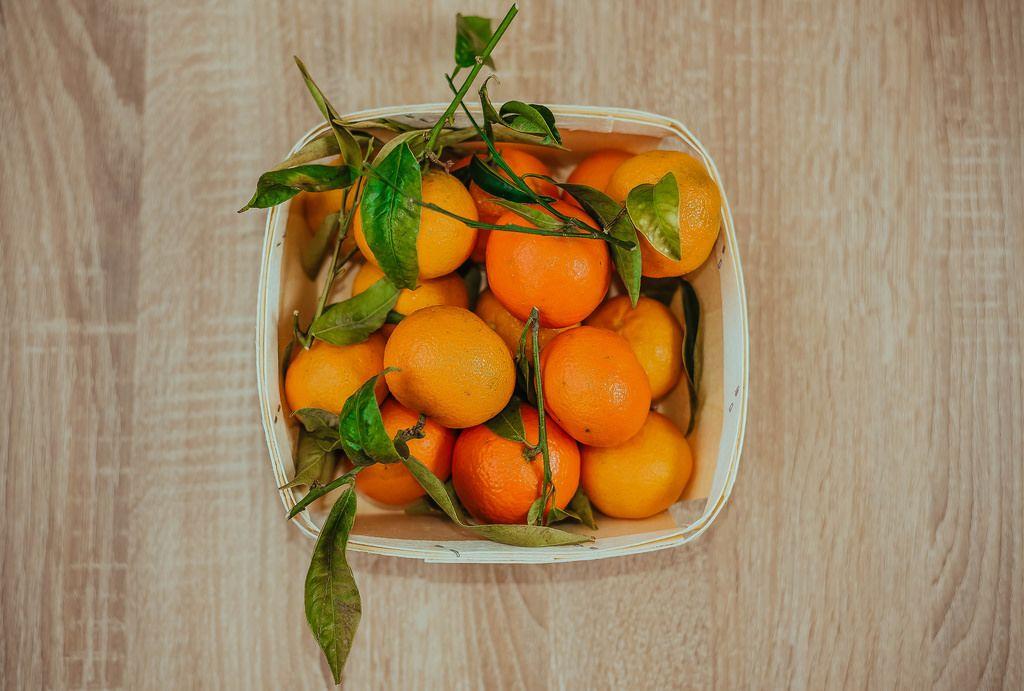 Basket of Fresh Tangerines