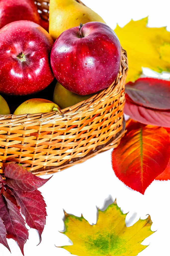 Basket with apples and autumn leaves