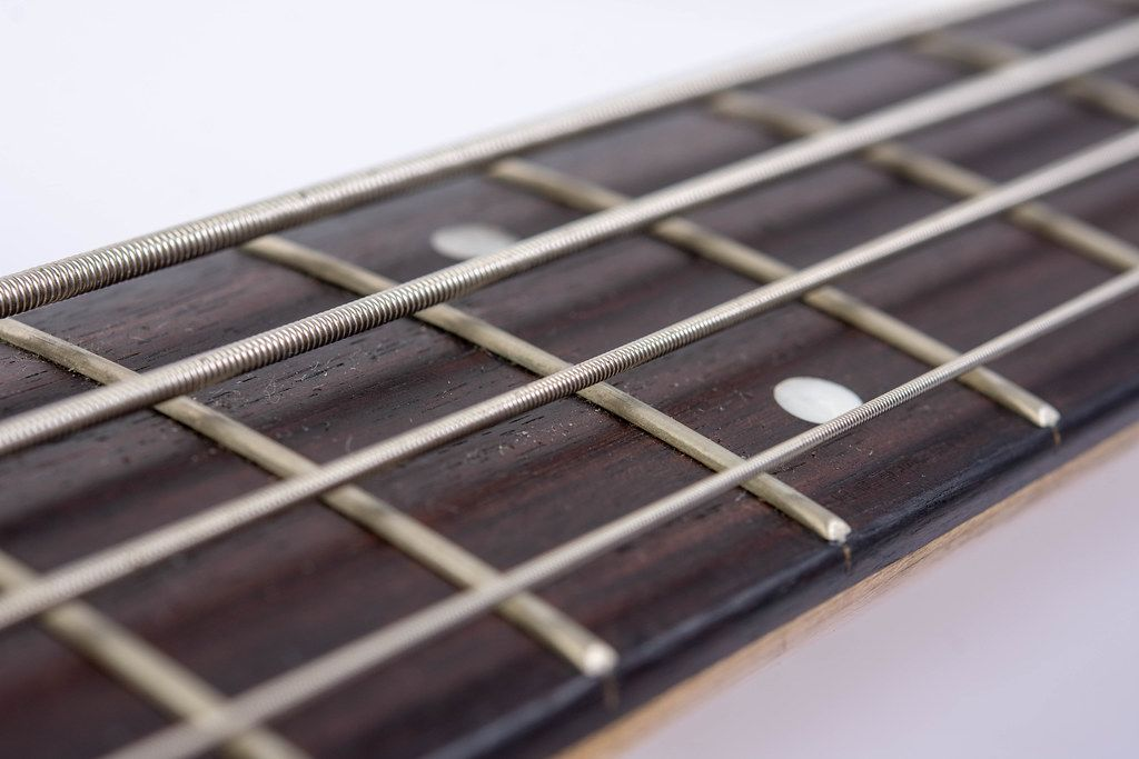 Bass Guitar Neck with Strings with blurred background