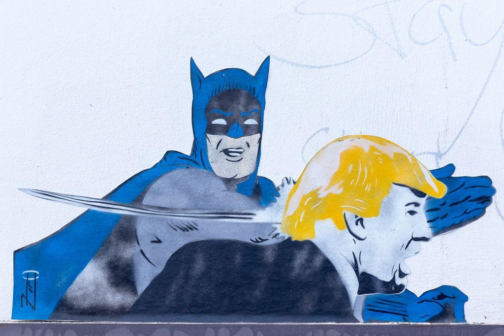 Batman slaps Donald Trump's face (graffiti)