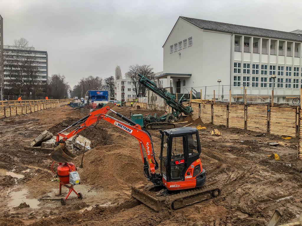 Baustelle Clarenbachstift Köln-Braunsfeld (Fundort der Fliegerbombe)