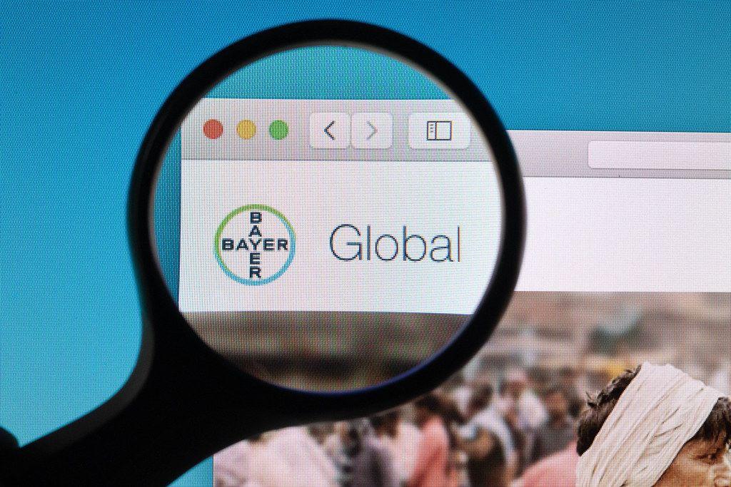 Bayer logo under magnifying glass