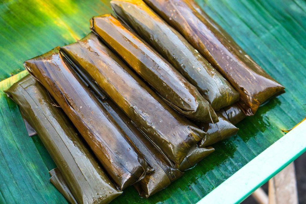 Bayi-bayi street food wrapped in banana leaves