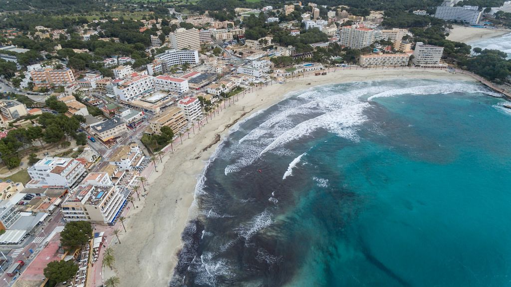 Beach in Peguera, Mallorca photographed with a drone