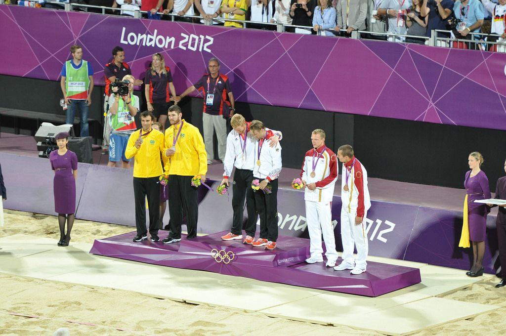 Beach Volleyball Siegerehrung bei den London Olympics 2012