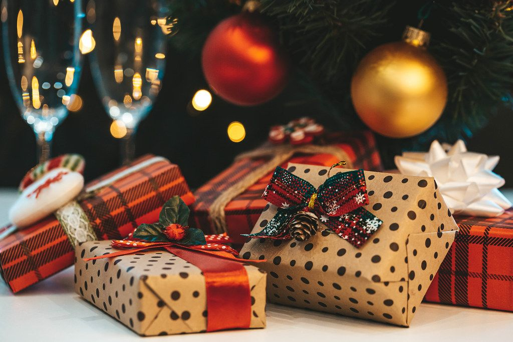 Beautiful gift boxes on christmas background