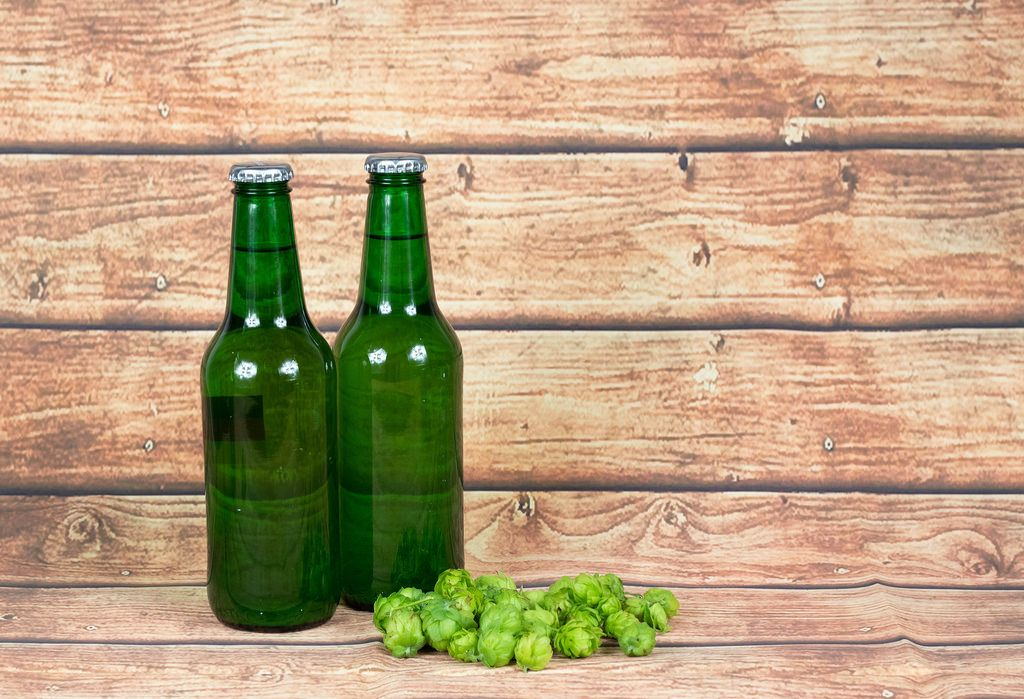 Beer bottles with hops