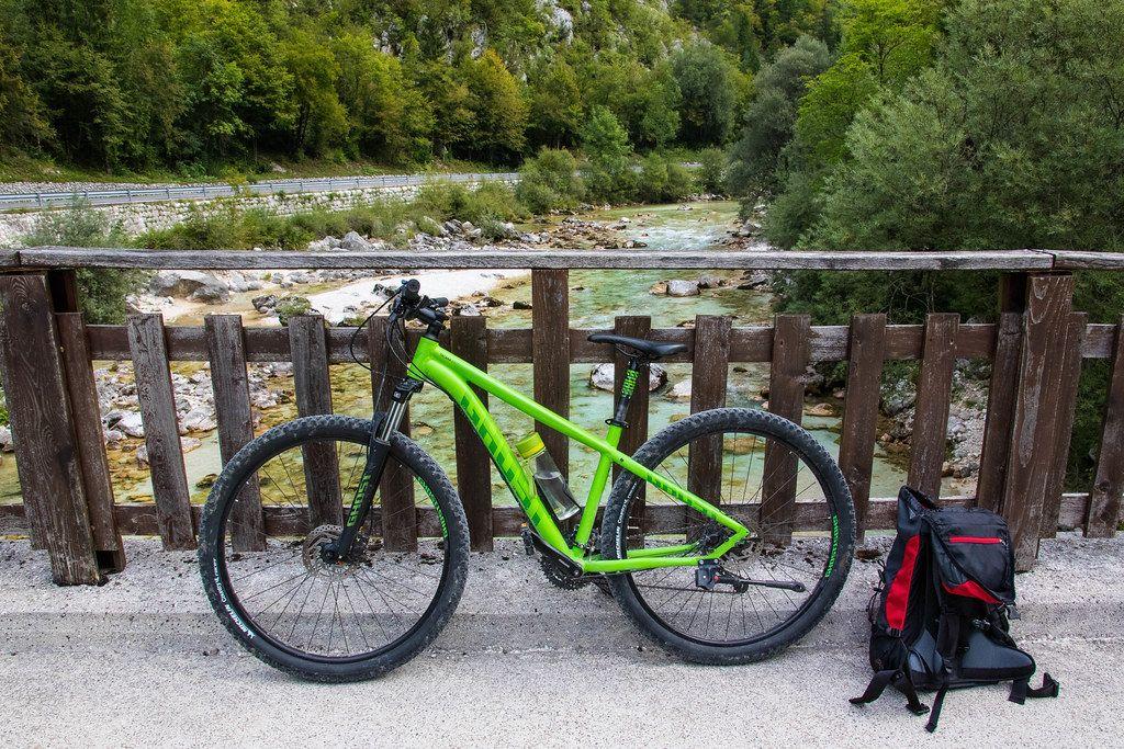 Bicycle parked on bridge