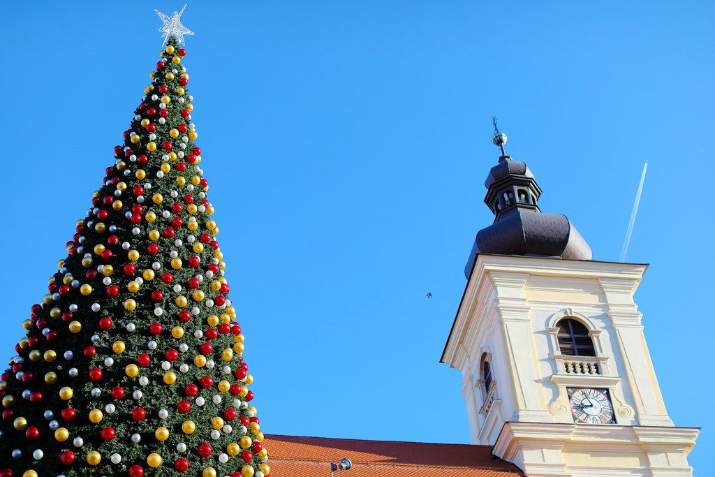 Big Christmas tree and a clock tower in Sibiu, Romania (Flip 2019)