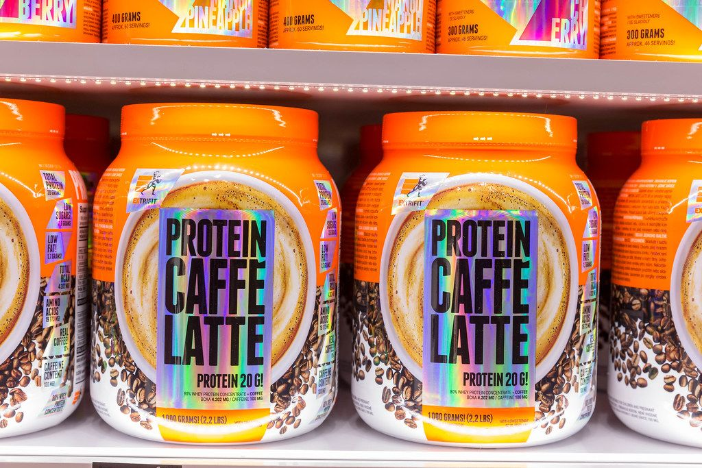 Big Pack of Protein Caffee Latte by EXTRIFIT at Fibo in Cologne, Germany