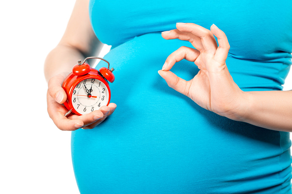 Big pregnant belly and an alarm clock in a hand. Concept is all good and timely